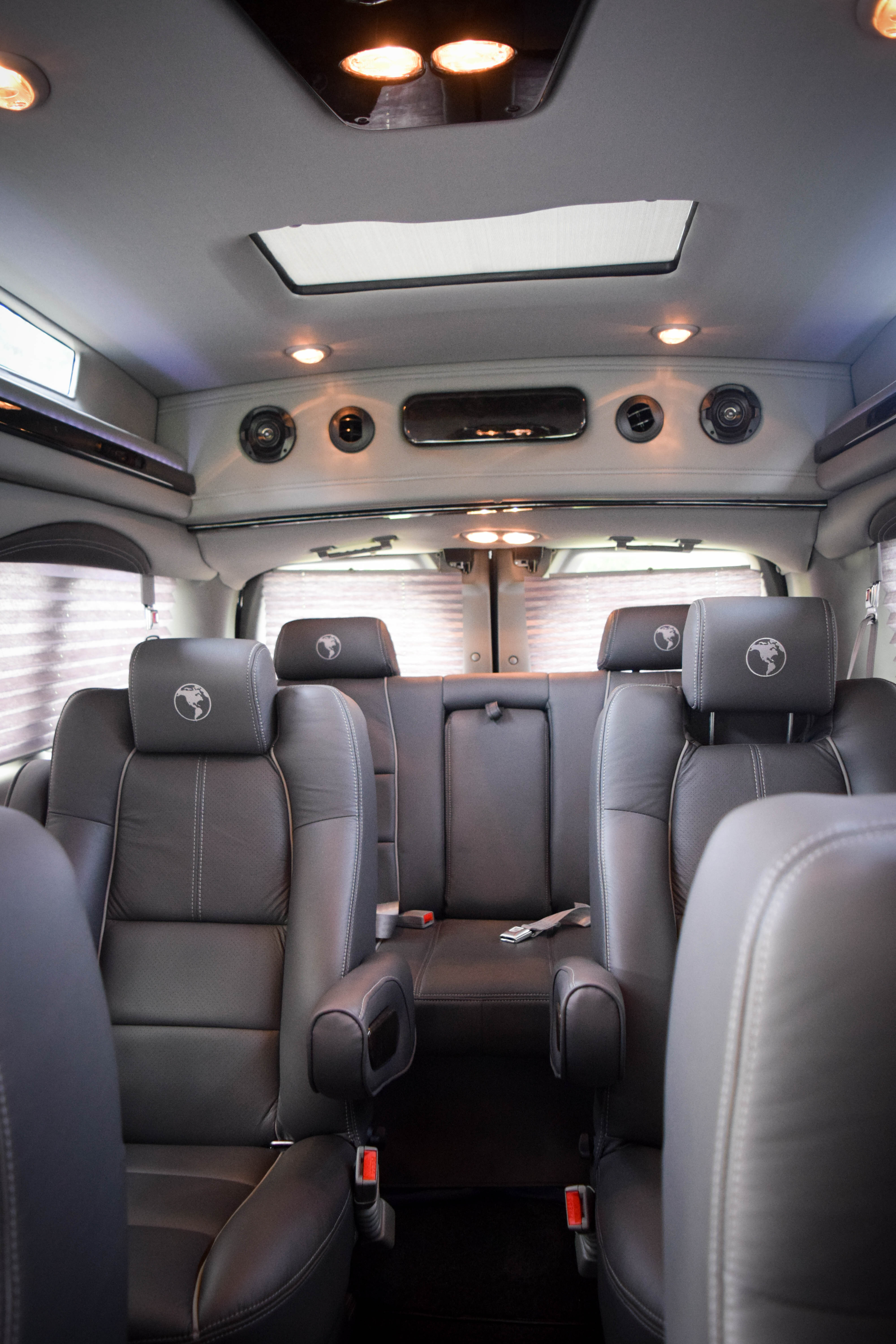 Executive van with high back leather seats